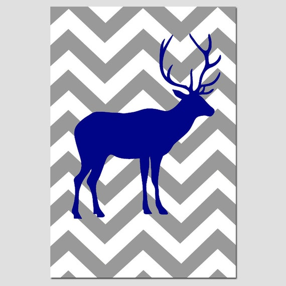 Chevron Deer Silhouette Nursery Art Nursery Decor 11x17 Print - CHOOSE YOUR COLORS - Shown in Gray, Navy Blue and More
