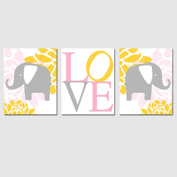 Modern Elephant Love Trio - Set of Three 11x14 Nursery Prints - CHOOSE YOUR COLORS - Shown in Pink, Gray, Yellow, and White