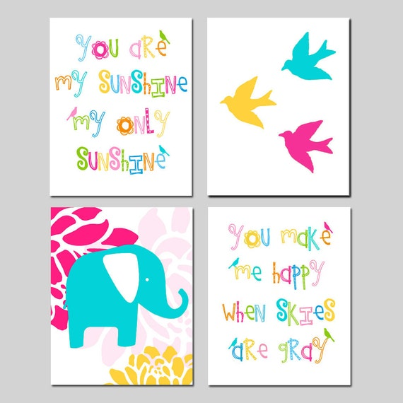 Nursery Art Quad - Set of Four 8x10 Prints - You Are My Sunshine, Elephant Floral, Baby Birds - CHOOSE YOUR COLORS - Shown in Multicolor