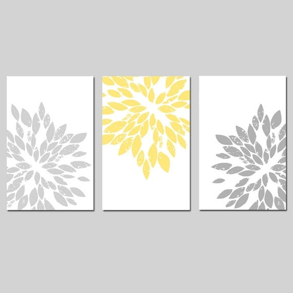 Modern Abstract Painterly Floral - Set of Three Large Scale 11x17 Art Prints - CHOOSE YOUR COLORS - Shown in Pale Yellow, Gray, and More