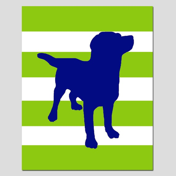 Labrador Puppy Dog Silhouette Stripe Nursery Art Print - 11x14 - Kids Wall Art - CHOOSE YOUR COLORS
