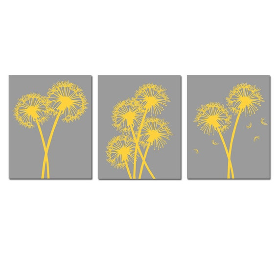 Modern Dandelion Floral Art Trio - Set of Three 8x10 Coordinating Floral Prints - CHOOSE YOUR COLORS - Shown in Gray and Yellow