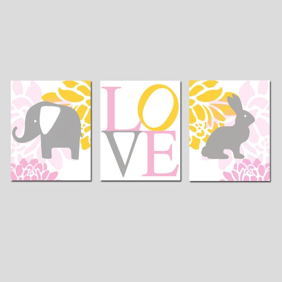 Floral Elephant Bunny Love Trio - Set of Three 8x10 Modern Nursery Prints - CHOOSE YOUR COLORS - Shown in Pink, Gray, Yellow, and White