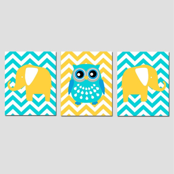 Modern Nursery Art Trio - Set of Three 11x14 Prints - Chevron Animals - Owl, Elephant - Kids Wall Art - CHOOSE YOUR COLORS