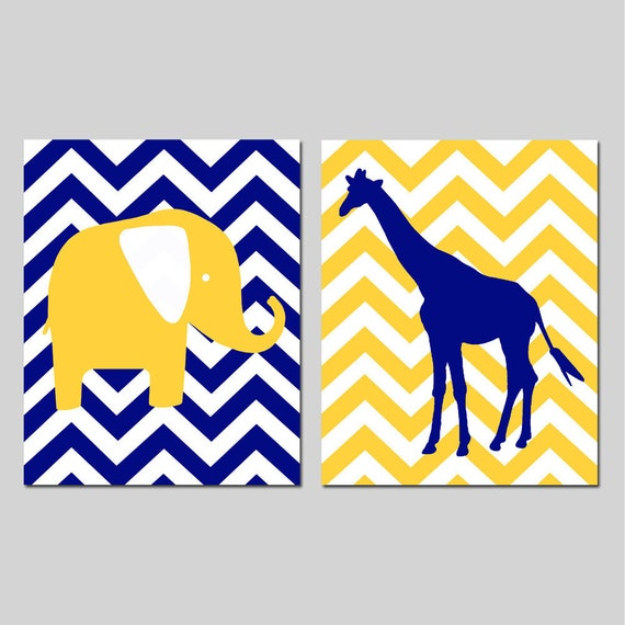 Chevron Elephant Giraffe Nursery Art Duo - Set of Two 11x14 Prints - Kids Wall Art - CHOOSE YOUR COLORS - Shown in Yellow, Navy and More