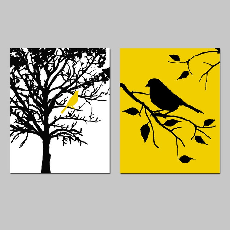 Birds and trees set of two 8x10 prints bathroom by tessyla for 8x10 bedroom
