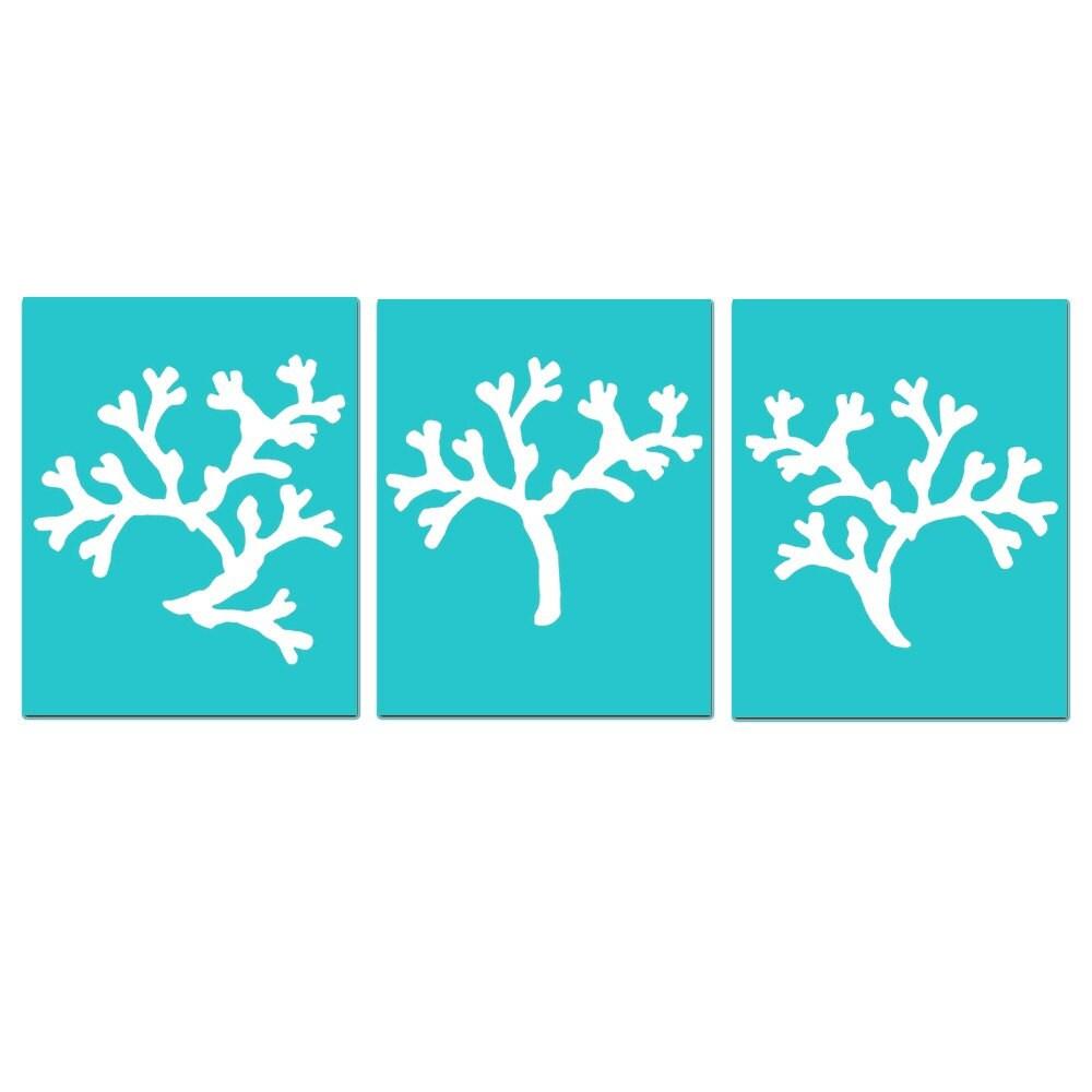 Coral Ocean Beach Trio Set Of Three 8x10 Coral Silhouette