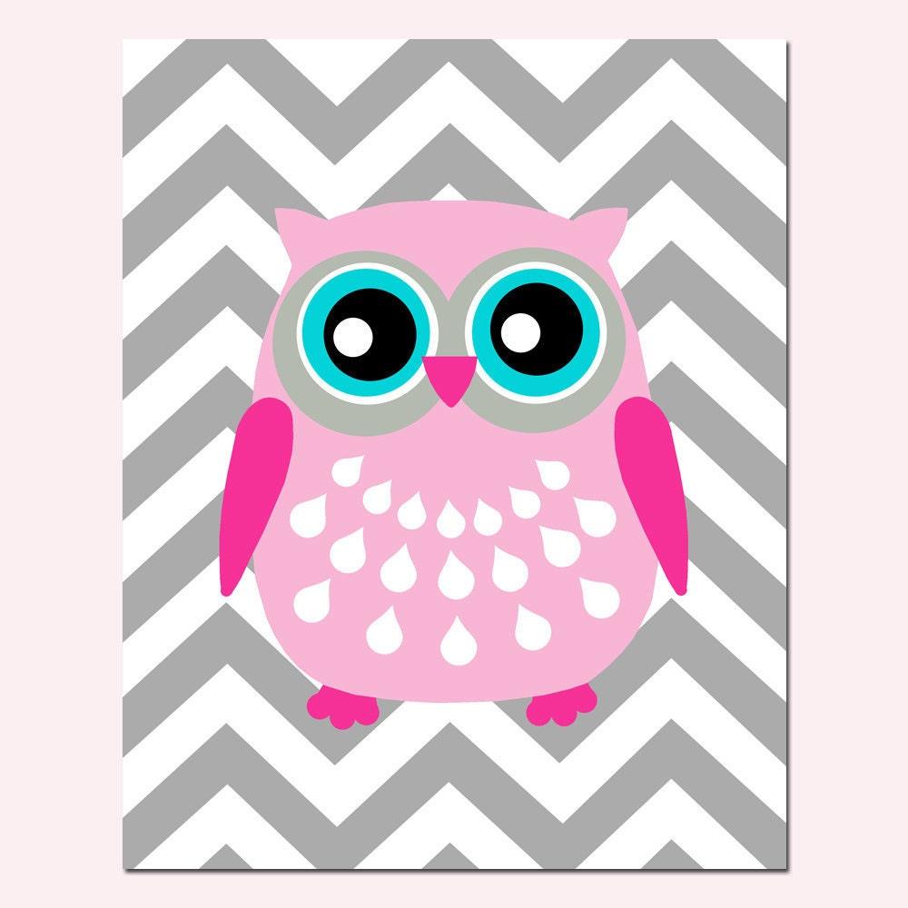 modern chevron owl silhouette print 8x10 chevron zig zag