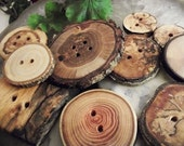 Wood Button Assortment - 10 Tree Branch Buttons .. for Hats, Scarves, Cowls, Pillows and Journal Covers