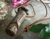 Tree Branch Whistle Necklace,Oak Wood - Deerskin Leather Cord -  For Camping, Hiking, Dog Trainers or Nature Lovers
