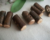 Wood Buttons - 8 Maple Tree Branch Toggle Buttons - 1 1/4 Inch or 31 mm - For Scarves, Sweaters, Cowls, Journals or Embellishments