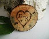 Personalized Valentines Day Wood Magnet - Rustic White Pine -  Cupid Heart- 2 1/4 Inch in diameter for your special Valentine or Loved One