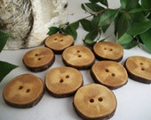 Wood Buttons - 8 Dogwood Tree Branch Buttons  - 1 - 1 1/8 Inch or 25 - 28 mm  ... for Knitting, Crochet, Sewing Projects