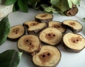Wood Buttons - 9 Northern Michigan Cedar Wood Tree Branch Buttons - 1 1/2 - 1 5/8 Inch - 2 holes -  for pillows, journals, cowls and hats