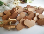 Wooden Heart Thumb Tacks/Push Pins Maple Wood  - Set of 30 - for Wedding Boards, Bulletin Message Boards,  Office Decor