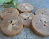 6 Handmade Wooden Buttons - Shagbark Hickory Wood Buttons  - Michigan Made 1 7/8  Inches For Sweaters, Cowls, Scarves, Handbags, Mug Cozies