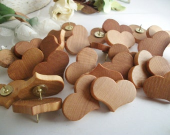 32 Wooden Heart Thumb Tacks/Push Pins Maple Wood  for Wedding Boards, Bulletin Message Boards,  Office Decor