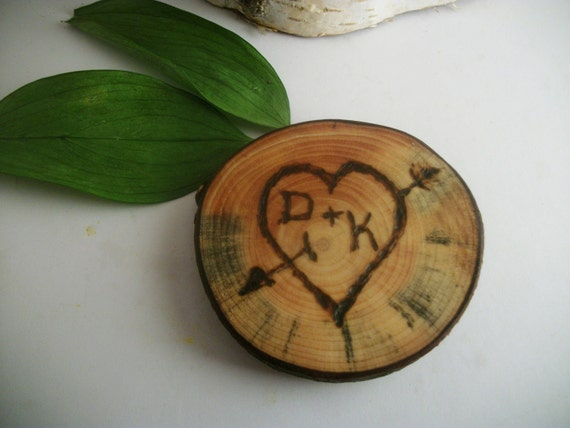 Personalized Wood Magnet - Rustic White Pine -  Wood burned Heart- 2 1/4 Inch for your Weddings, Loved Ones, Nature Lovers