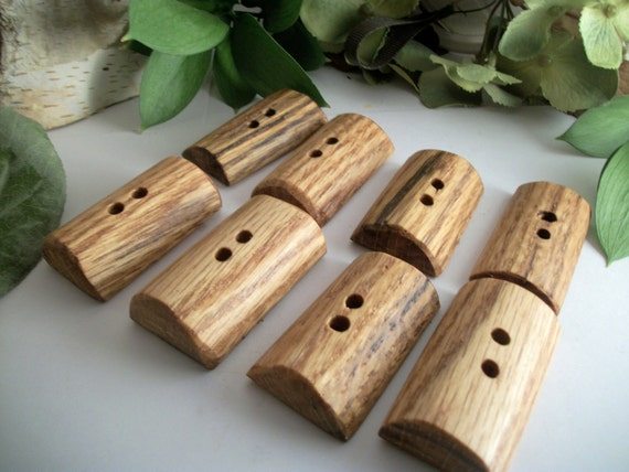 Wooden Toggle Buttons - 8 Oak Tree Branch Buttons - 1 7/8 inch x 1 inch (47x 25 mm) for your Knitting, Crochet and Fiber Projects