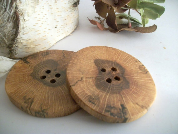 Big Wooden Buttons -  2 Red Oak Tree Branch Buttons - 2 1/2  Inches  - for Journals, Pillows, Knitting, Fiber or Crochet projects