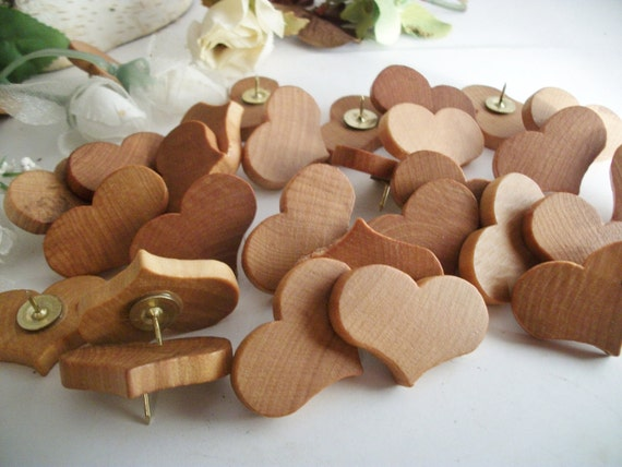 50 Romantic Wood Heart Thumb Tacks/Push Pins Maple Wood  - Set of 50 - for Wedding Boards, Bulletin Message Boards,  Office Decor