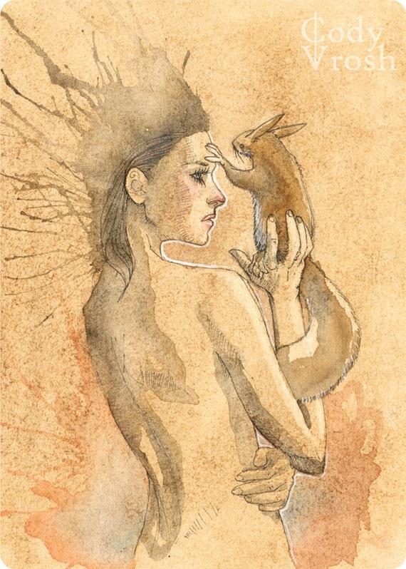 "Squirrel Art, Coffee Art Print - Girls and Their Squirrels 5x7"" Illustration Art Print by Cody Vrosh"