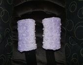 Infant or Baby Car Seat Strap Covers - Reversible Car Seat Strap Covers - Shoulder Belt Covers - Seat Strap Covers - Lavender Minky