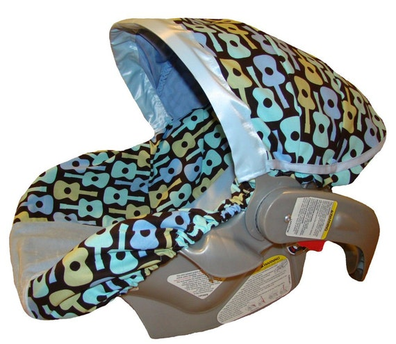 Sale - Infant Car Seat Cover - Baby Car Seat Cover - Blue Groovy Guitars for Baby Boy - Ready to ship