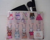 Fifi Lapin Print Zippered Cosmetics Pouch.