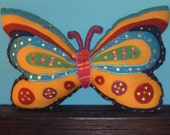 Plushy Handstitched Butterfly Pillow