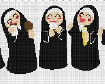 Be Different - the Nuns Cross Stitch Pattern - Professional Pattern Designer and Artist Collaboration