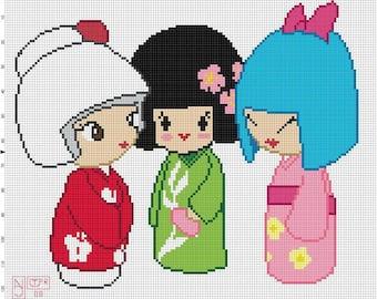 Kokeshi Cross Stitch Pattern - Professional Pattern Designer and Artist Collaboration