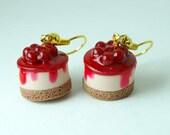 Food Jewelry. Cherry Cheesecake Frenzy Dangle Earring.  Handmade Miniature Polymer Clay Food Jewelry.