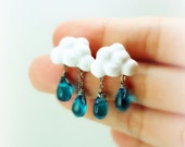 Of Rain and Rainbows - Cloud Earrings - Rain Drops Earrings - Spring - Summer - Rain Earring - Handmade - Miniature - Jewelry - Polymer Clay