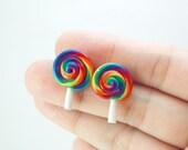 Rainbow Lollipop Earring Stud. Handmade Miniature Polymer Clay Food Jewelry. Candy Earring. Under 15 USD.