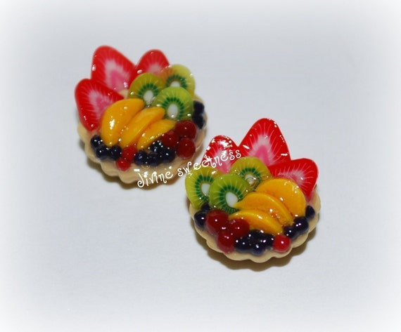 Fruit Tart Stud Earrings in Handmade Miniature Polymer Clay. Food Jewelry