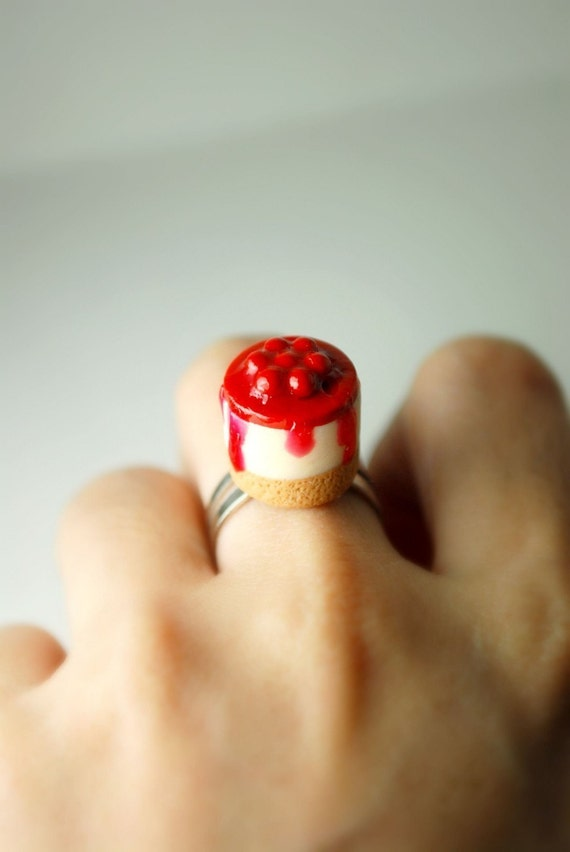 Cherry Cheesecake Frenzy Ring. Handmade Miniature Polymer Clay Food Jewelry. Under 15USD