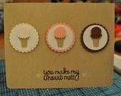 neapolitan ice cream cones - handmade greeting card