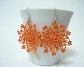Little Moons - Crocheted Earrings in orange