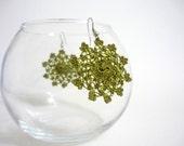 Little Moons Crocheted earrings in olive green