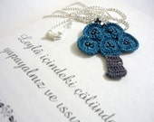 Little Teal Tree Necklace