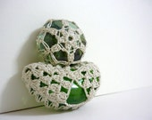 Moon and Star - Crochet Lace Glass Marbles
