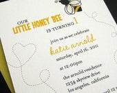 CUSTOM ORDER / little honey bee invitation