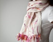 Reserved for Volz - Felted Shawl / Scarf in Pink, Purple and White - Vanilla Raspberry Cream OOAK