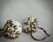 Ivory, Brown, Mossy and Copper Earrings with Handmade Felt and Pearls - More - OOAK  - Gift under 50 USD