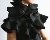 Eco fashion ruffled scarf Nuno felted shawl Black Elegance Wearable wool silk fiber art Ruffle scarf in black Handmade to order