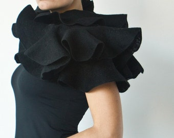 Black ruffle shawl - Elegant nuno felted statement scarf - Eco fashion for stylish gothic weddings - Woman woolen wrap
