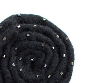 Black brooch On SALE Hand felted stylized flower brooch made from pure wool Black rose ready to ship gift under 25 USD