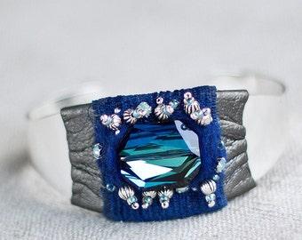 Blue cuff bracelet with handmade felt Swarovski crystals textile OOAK - Royal delft blue bridal jewelry cuff - Something blue for wedding