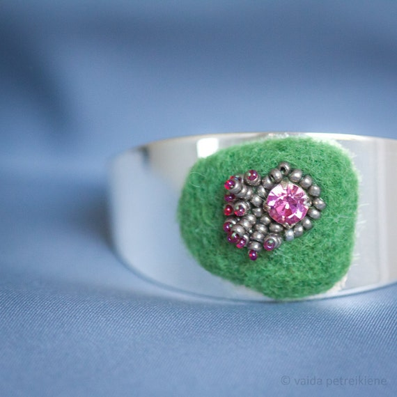 Bracelet cuff with handmade felt, Swarovski crystals, glass beads in apple green and soft pink Ready to ship gift under 50 USD